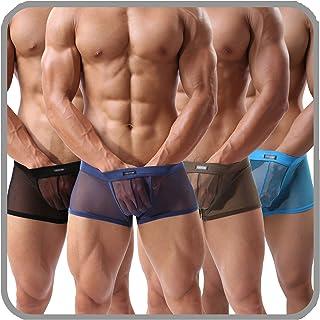 Men's Underwear Sexy Mesh Breathable Boxer Briefs Low Rise Cool Boxers Pack Set