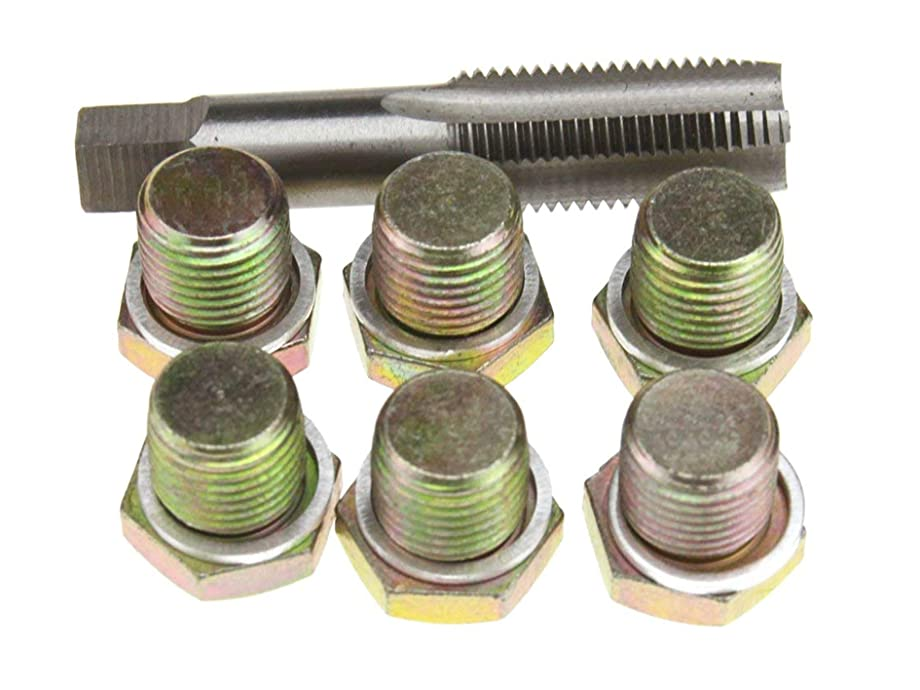 Supercrazy M22 X 1.5MM 6Pcs Oil Pan Drain Plug Thread Repair Tool Kit for Car Motorcycles Trucks and Vans SF0087F