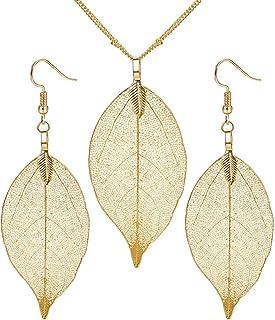 41a9a0990b3 Milacoalto Real Natural Filigree Leaf Pendientes Collar Largo Colgante  Chapado En Plata de Oro Bisutería de