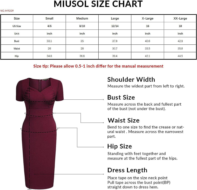 Miusol Women's Retro V Neck Ruffle Slim Cocktail Party Dress