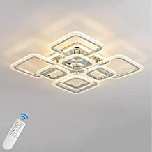 Qcyuui Modern Dimmable Ceiling Light, Flush Mount LED Ceiling Lamp, Nordic 8 Rectangles Lighting Fixture with Remote Contr...