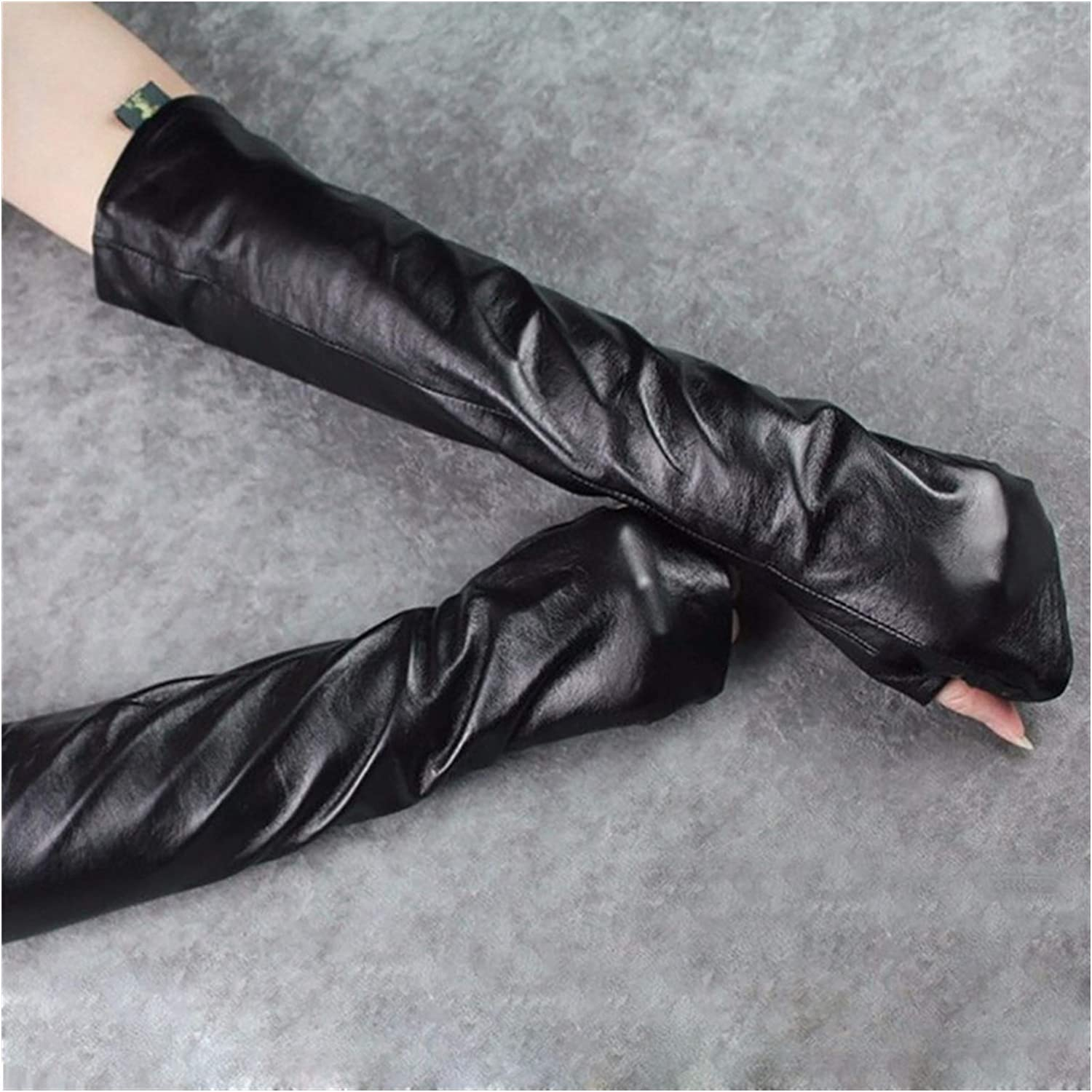 HDBH Fingerless Long Gloves Mittens Long Gloves Ladies Ripped Black Arm Sleeves Spring Women's Gloves Accessories Fashion Women's Knitted Wristbands (Color : 1, Size : 40CM)
