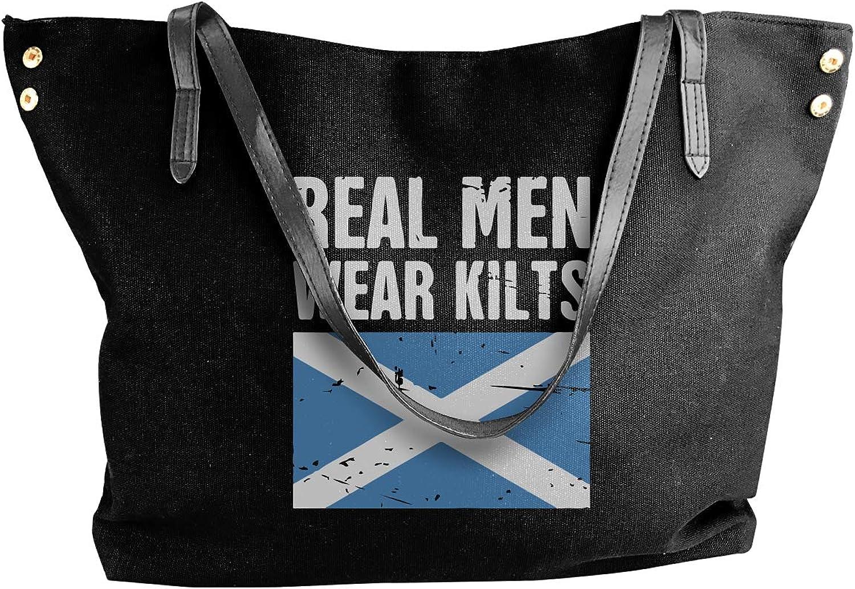 Scottish Flag Real Men Wear Kilts Women'S Recreation Canvas Sling Bag For Work Big Shopping Bag