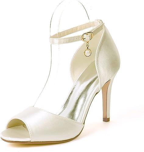 Eleoulck Eleoulck Eleoulck Chaussures De Mariage pour Femmes Talons Bas Ivoire Taille Satin Boucle sur La Plate-Forme De Bal Court chaussures Chunky d2d