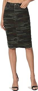 Butt Lift Wash Jean Pencil Knee Length Midi Stretch Soft Denim Skirt
