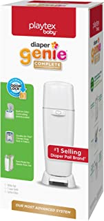 Playtex Diaper Genie Complete Pail with Built-In Odor Controlling Antimicrobial, Includes Pail & 1 Refill, White