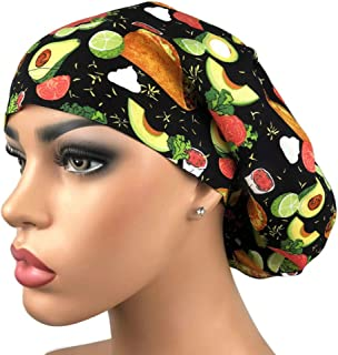 Women's Surgical Scrub Hat Avocados and Tacos Chef Cap Euro Style Adjustable Bouffant