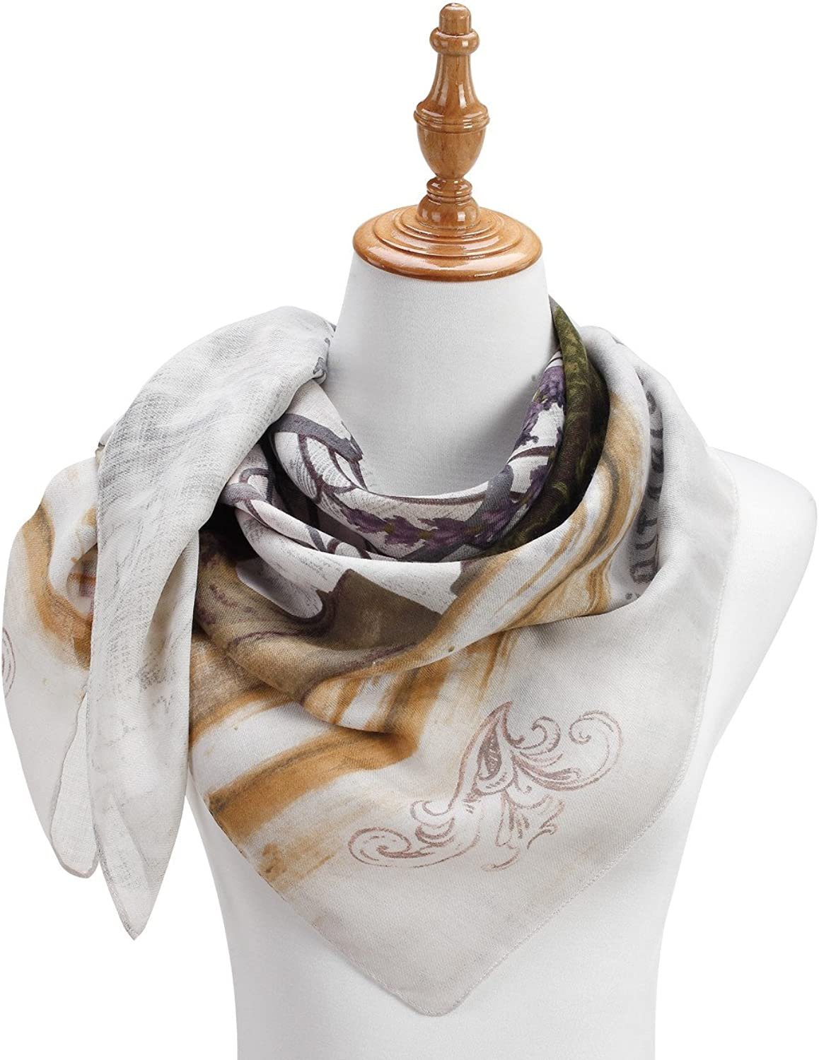 French Floral Still Life Print Women's One Size Polyester Twill Square Fashion Scarf