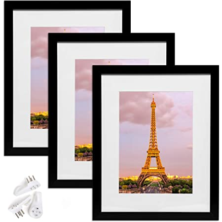 Emeyart 12x16 Picture Frames Black Picture Frames To Display Photo 8x10 With Mat Or 12 X 16 Pictures Without Mat For Living Room And Office Wall Decor 2 Pack