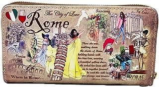 OH Fashion Women's Wallet When in Rome Single Zip Around Coin Wallet Handbag Cities Design Medium Size