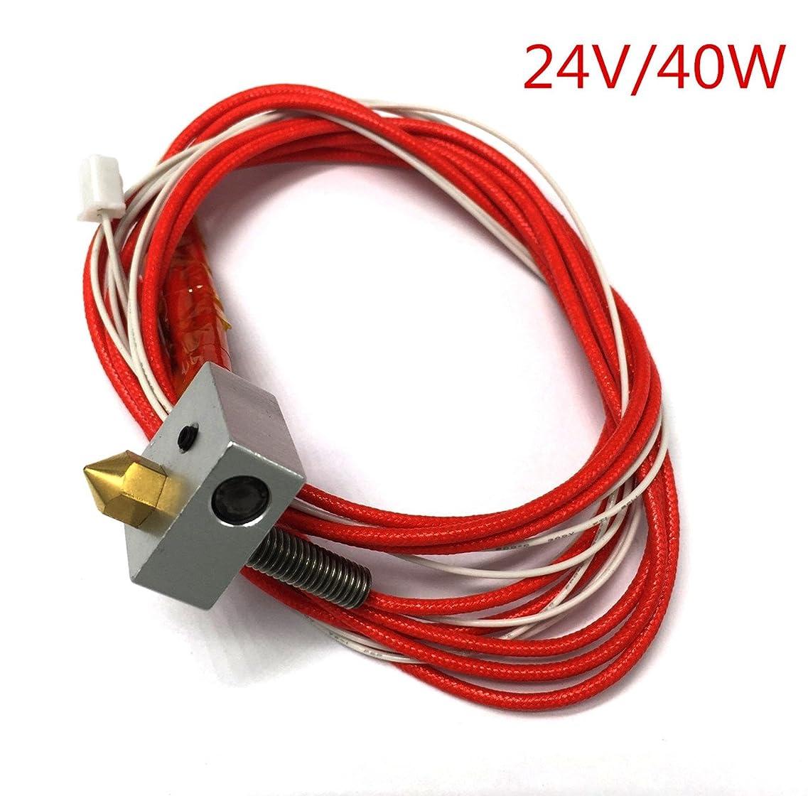 タンカー汚す達成するHICTOP 押出機セット 24Vヒーターケーブル ノズル ヒーターブロック 3Dプリンター用アクセサリー