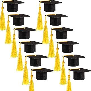Hicarer 12 Pack Mini Graduation Caps Graduation Cap Bottle Toppers Bachelor Graduation Hat-Shaped Party Decorations Black (Yellow)