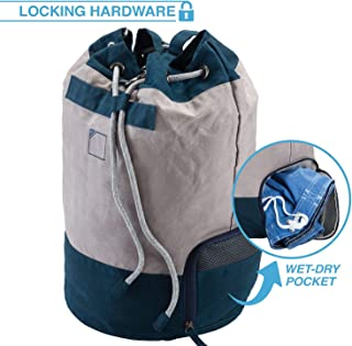 Lewis N. Clark Weather Resistant Waxed Canvas Sling w/Locking Hardware + Wet Bag Pocket for Work, Travel, Camping, Beach & Everyday Use, Gray/Royal Blue, One Size