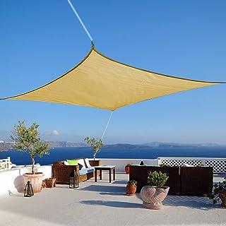 KAMEUN 2x3M Voile d'Ombrage Rectangulaire, Voile de Soleil Imperméable Anti UV avec Corde 2×2m, Polyester résistant à la d...