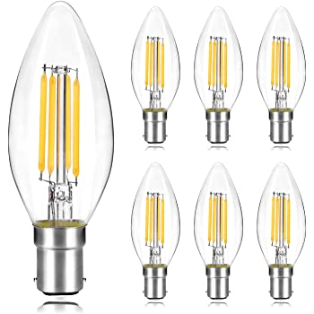 HLIGHT B22 Filament LED Light Bulb 4W Incandescent Bayonet Lamp G45 2700K Warm White Replacement 40W Rustic Clear Energy Class A 6PACK,4W 6000K