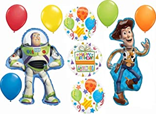 Toy Story Birthday Party Supplies Buzz Lightyear and Woody 10 Piece Balloon Bouquet Decorations