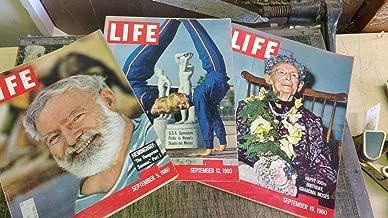 Life Magazine 1960 (3 issues) September 5,12 &19- set contains Ernest Hemingway ,