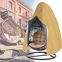 Sqodok Patio Hanging Chair Cover Waterproof, Egg Swing Chair Covers with Zipper, Outdoor Single Seat Swing Chair with Stan...