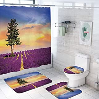 Lavender 69x84 inch Shower Curtain Sets,Purple Fields with Sunset Sky and Large Green Tree French Village Country Decor Toilet Pad Cover Bath Mat Shower Curtain Set 4 pcs Set,Multicolor