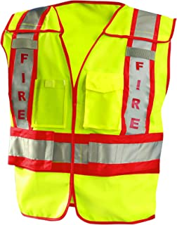 OccuNomix LUX-PSF-Y3/4X Public Safety Fire Vest, 3X/4X-Large, Yellow/Red