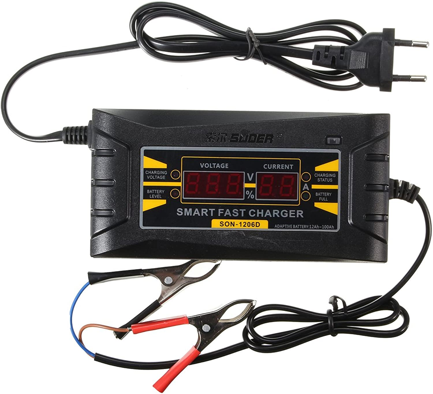US Warehouse  Digital LCD 12V 6A Smart PWM Lead Acid Battery Charger Cable for Car Motorcycle