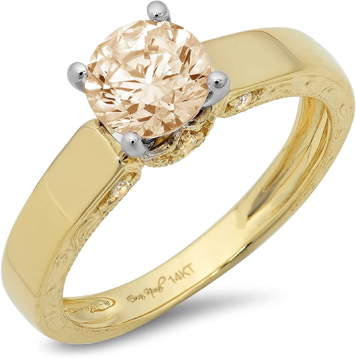 1.70ct Brilliant Round Cut Solitaire Genuine Flawless Natural Brown Morganite Gemstone Engagement Promise Anniversary Bridal Wedding Accent Ring Solid 18K 2 tone Gold