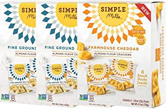 Simple Mills Almond Flour Crackers Snack Pack Variety Pack: (2) Fine Ground Sea Salt, (1) Farmhouse Cheddar, 3 count