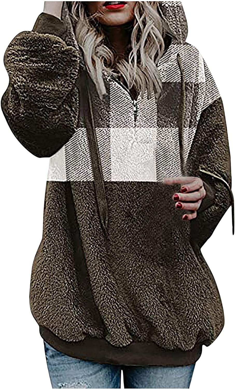 Women's Fleece Soft Hooded Furry Blouses Tops Tie dye Long Sleeve Sweatshirt Plaid Pullover Casual Graphic Hoodies