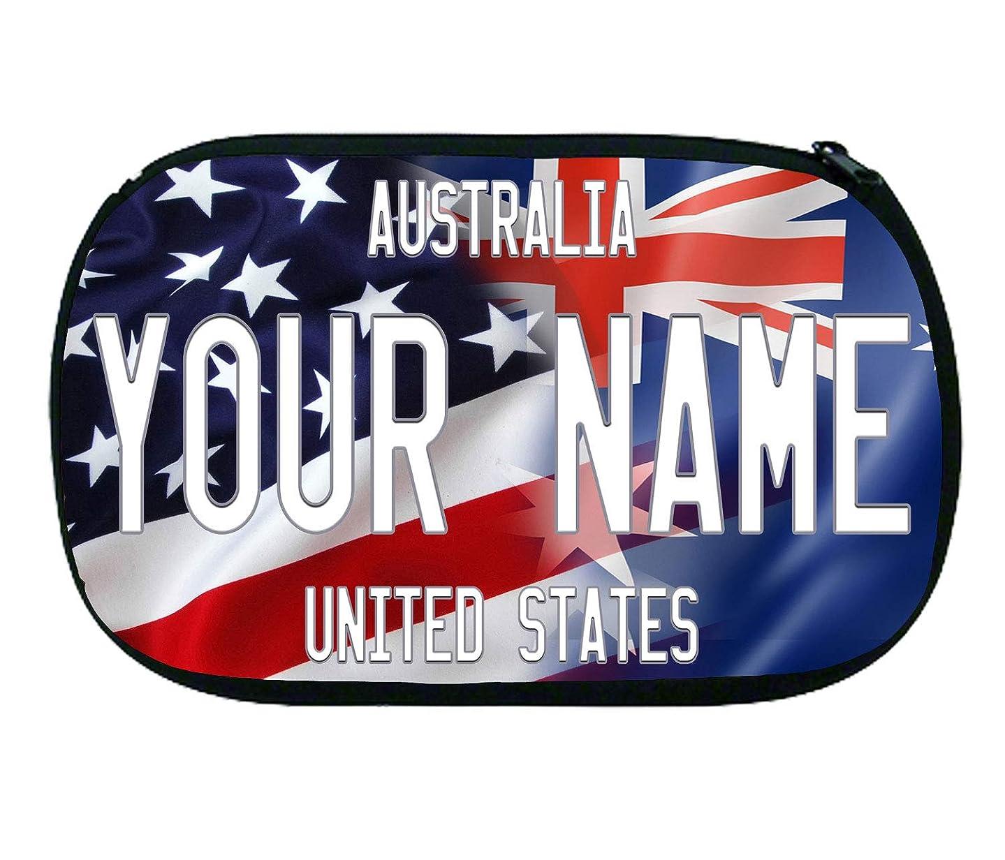 BRGiftShop Personalized Custom Name Mixed USA and Australia Flag Neoprene Makeup Cosmetic Bag