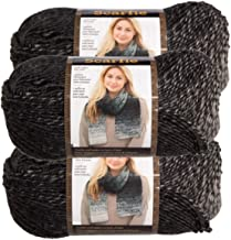 Lion Brand (3 Pack) Scarfie Acrylic & Wool Soft Silver & Charcoal Yarn for Knitting Crocheting Bulky #5