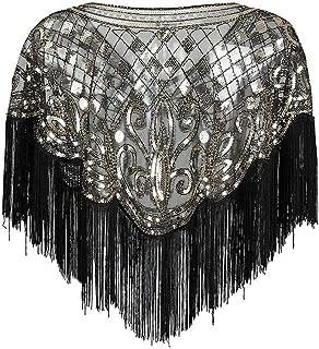 Ultramall Women 1920s Retro Shawl Wrap Art Deco Sequin Tassel Evening Cape Bolero Flapper Cover Up For Women