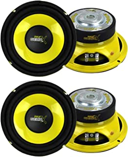 "Pyle PLG64 6.5"" 1200W Car Audio Mid Bass/Midrange Subwoofer Speaker Set, 2 Pair with Yellow CD P.P. Cone, 4 Ohm Impedance,... photo"