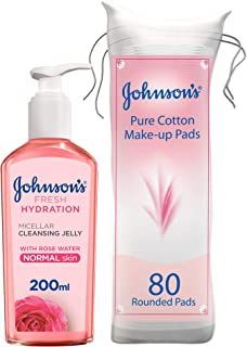 Johnson's Face Cleanser Fresh Hydration Micellar Cleansing Jelly For Normal Skin, 200 ml with 80 Cotton Pads - Pack of 1