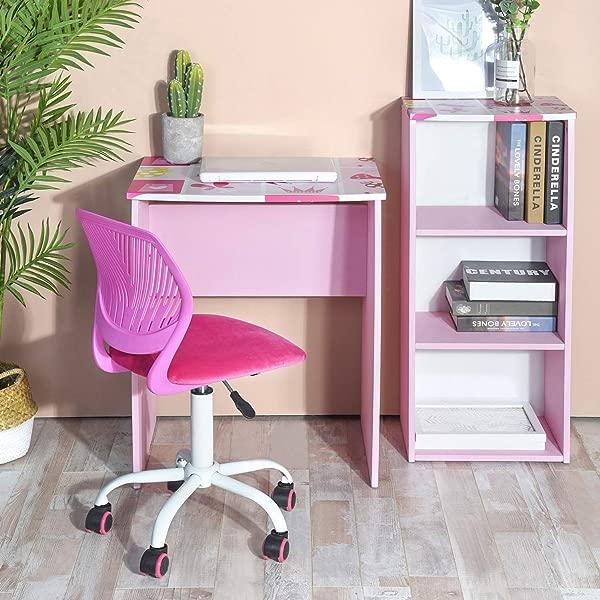 GreenForest 儿童书桌带三层储物架木制电脑笔记本电脑桌套装女孩学习书桌套装粉色