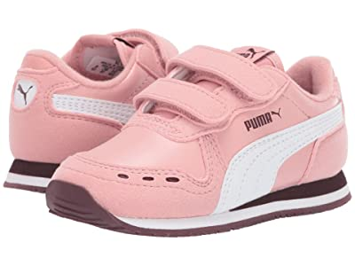 Puma Kids Cabana Racer SL Velcro (Toddler) (Bridal Rose/PUMA White/Vineyard Wine) Girls Shoes