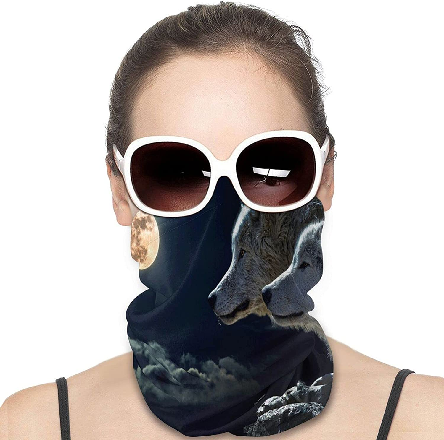 Black and White Wolf Full Moon Round Neck Gaiter Bandnas Face Cover Uv Protection Prevent bask in Ice Scarf Headbands Perfect for Motorcycle Cycling Running Festival Raves Outdoors