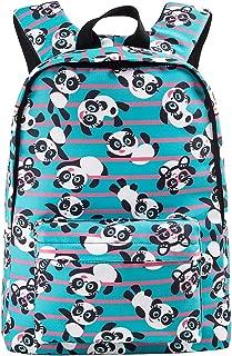 Cute Panda Backpack for Girl Boys Aqua Lightweight Canvas School Bookbag Rucksack for Kids