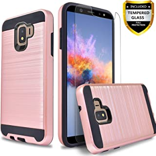 Galaxy J2 Case, J2 Core / Pure / Shine Case, with [Tempered Glass Screen Protector Included] Circlemalls 2-Piece Durable Hybrid Drop Protection Armor Rugged Protective Phone Cover-Rose Gold