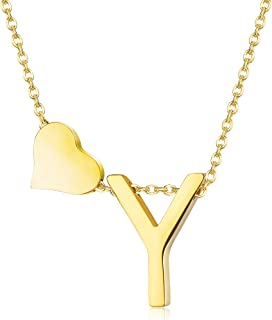 Gold Tone Initial Alphabet Heart Pendant Necklace A-Z Letter Pendant Choker Jewelry Gift Her