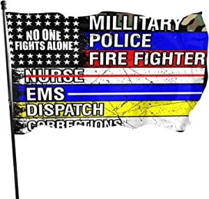 No One Fights Alone Flag Outdoor Banner, 3x5ft American Flag with Thin Blue Line Flag American Patriotic Flag for Supporting Nurse Police Military
