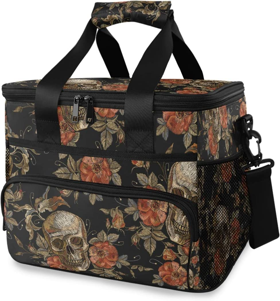 Large Halloween Skull Lunch Bags for Women/Men Gothic Big Reusable Insulated Lunch Boxe Flowers Lunch Boxes Portable Cooler Bag for Picnic Travel Camping 2040036