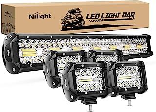Nilight 20 Inch 420W Triple Row Flood Spot Combo Led Light Bar 4PCS 4Inch 60W LED Pods Driving Boat Lights Led Off Road Tr...