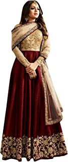 Ultimate Ecommerce Women's Maroon silk Fashionable Semi-Stitched Anarkali Salwar Suit (Ultimate_UE10803_Maroon_Free Size)
