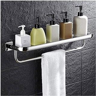 YF-SURINA Tablette de douche étagère d'angle en verre de salle de bain avec porte-serviettes étagères de rangement de sall...
