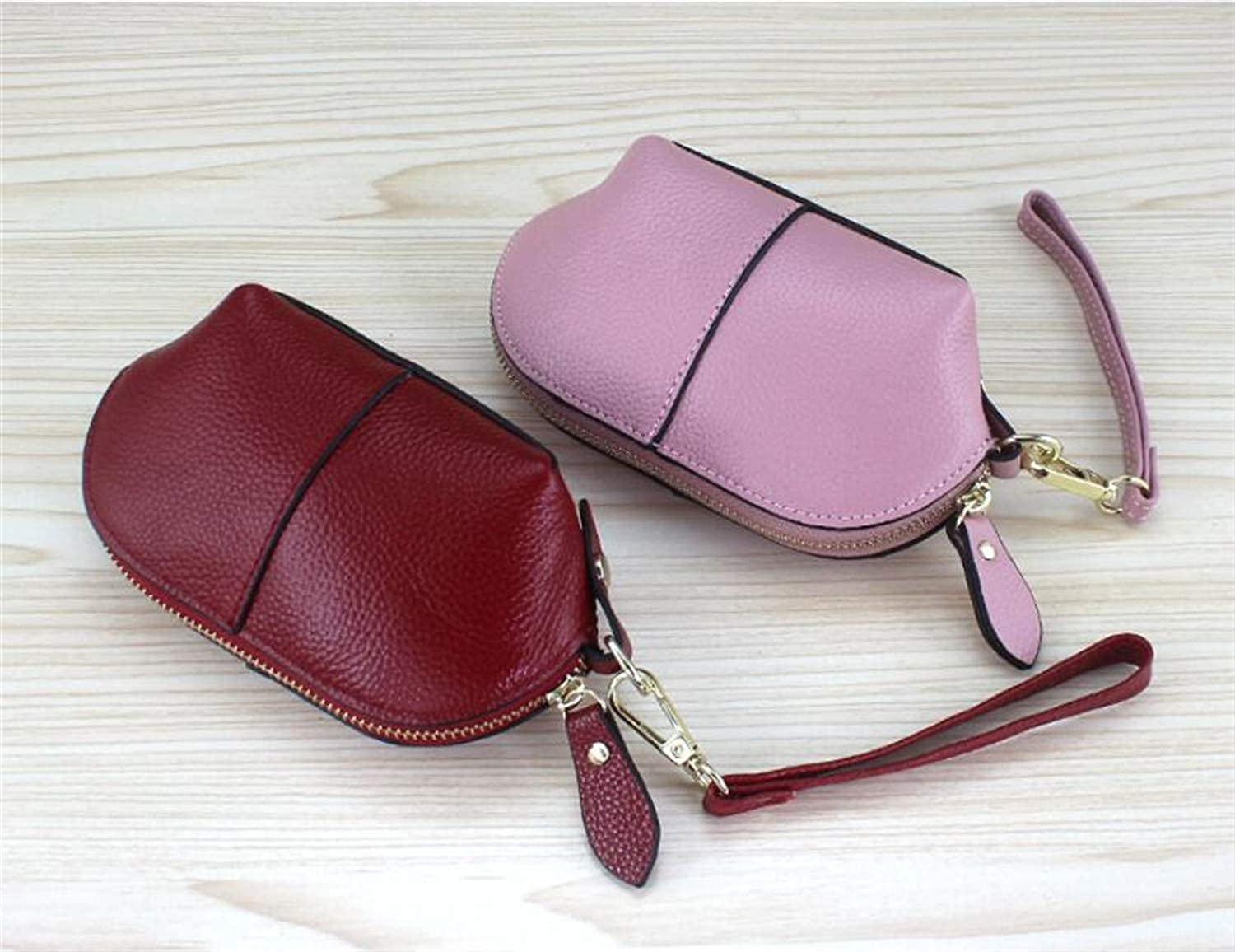Ladies Handbag Wallet Genuine Leather Woman Mini Hand Holding Coin Bag European and American Style Fashion Small Coin Zipper Pocket Small Clutch Bag (color   Couple 2)