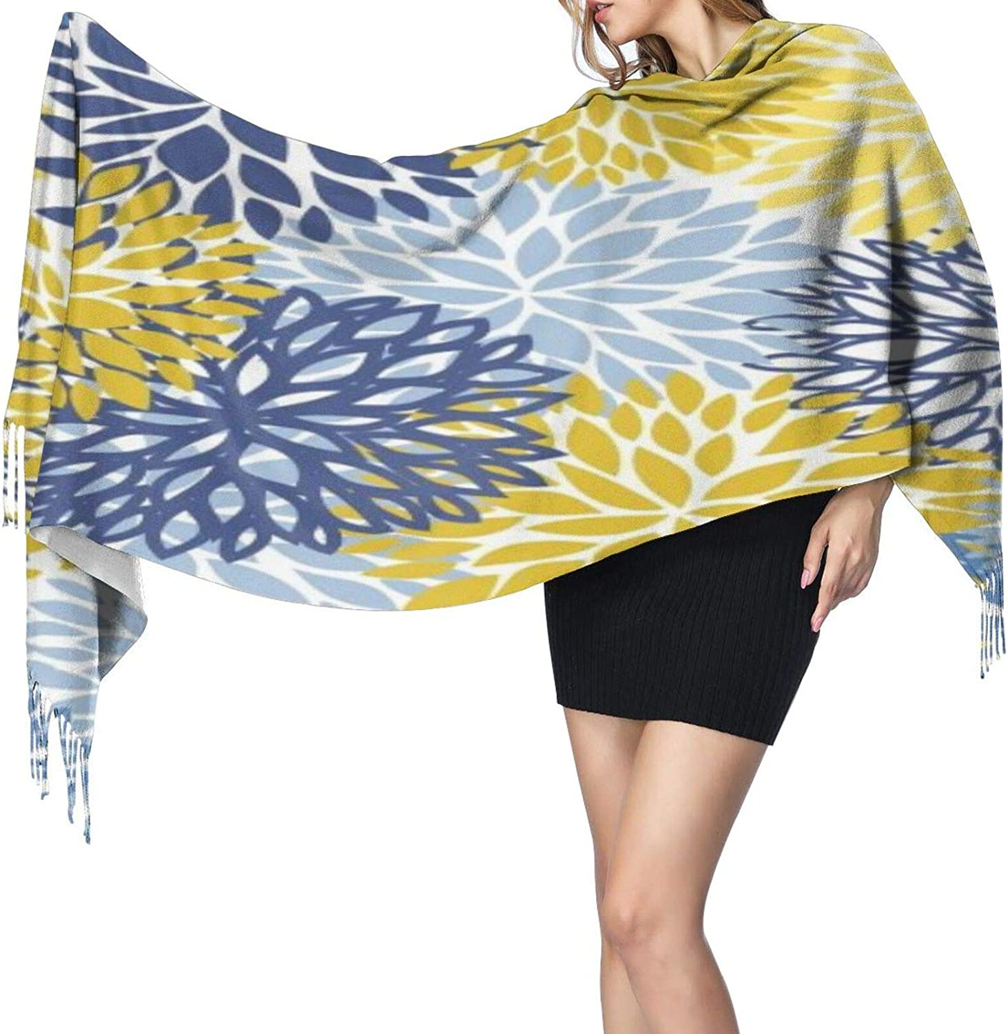 Cashmere fringed scarf Blue Yellow and Navy Chrysanthemum winter extra large scarf
