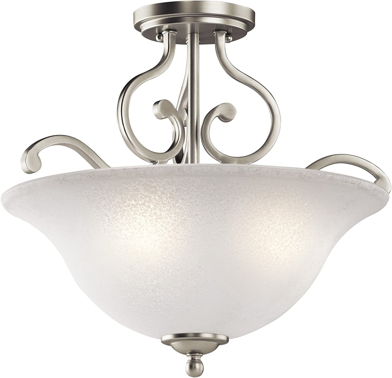 Kichler 43232NI Camerena Semi Flush Ceiling Light, Brushed Nickel 3-Light (18  W x 15  H) 300 Watts