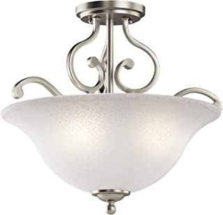 Kichler 43232NI Camerena Semi Flush Ceiling Light, Brushed Nickel 3-Light (18