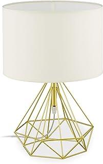 Relaxdays Noche de Alambre con Pantalla de Tela, E27, lámpara de Mesa Vintage, Metal, 44 x 30,5 cm, Color Blanco y Dorado