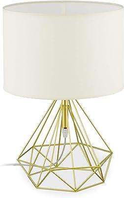 Relaxdays 10034191 Lampe de Chevet Vintage en Fil de Fer, pour Table, avec Abat-Jour en Tissu, E27,métal,HxD44x30,5cm, Blanc/doré